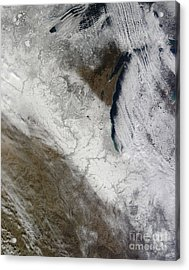 Satellite View Of Snow And Cold Acrylic Print by Stocktrek Images