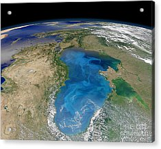 Satellite View Of Swirling Blue Acrylic Print by Stocktrek Images