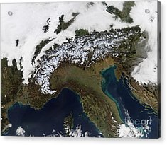 Satellite View Of The Alps Acrylic Print by Stocktrek Images