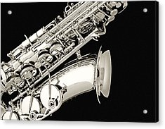 Saxophone Black And White Acrylic Print by M K  Miller