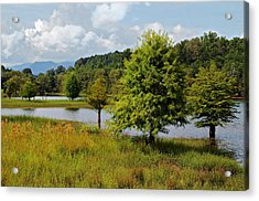 Scenic Lake With Mountains Acrylic Print by Susan Leggett