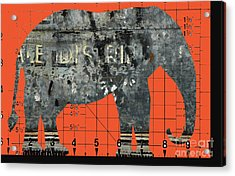 Schematic Elephant Juvenile Art Acrylic Print by Anahi DeCanio