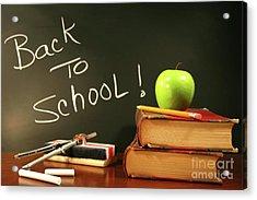 School Books With Apple On Desk Acrylic Print by Sandra Cunningham