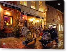 Scooters At The Bistro Acrylic Print by Rob Hawkins