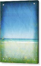 Sea And Sky On Old Paper Acrylic Print by Setsiri Silapasuwanchai
