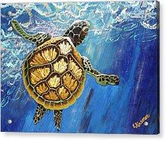 Sea Turtle Takes A Breath Acrylic Print by Lisa Kramer