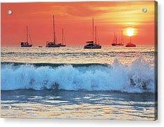Sea Waves At Sunset Acrylic Print by Teerapat Pattanasoponpong