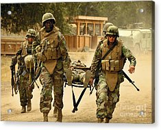 Seabees Conduct A Mass Casualty Drill Acrylic Print by Stocktrek Images