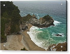 Seascape And Waterfall At Julia Pfeiffer Burns State Park Acrylic Print by Gregory Scott