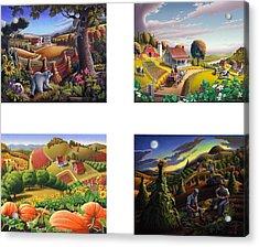 seasonal farm country folk art-set of 4 farms prints amricana American Americana print series Acrylic Print by Walt Curlee