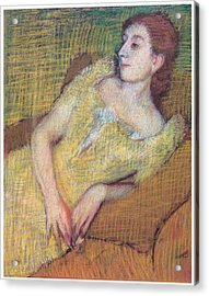Seated Woman In A Yellow Dress Acrylic Print by Edgar Degas