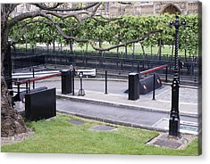 Security Barriers At Houses Of Parliament Acrylic Print by Mark Williamson