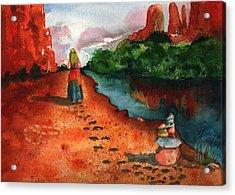 Sedona Arizona Spiritual Vortex Zen Encounter Acrylic Print by Sharon Mick