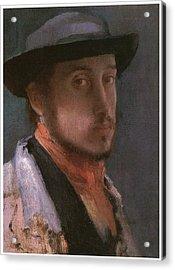 Self-portrait In A Soft Hat Acrylic Print by Edgar Degas