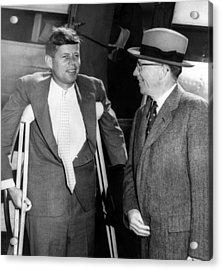 Senator John F. Kennedy, On Crutches Acrylic Print by Everett