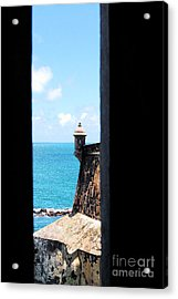 Sentry Tower View Castillo San Felipe Del Morro San Juan Puerto Rico Ink Outlines Acrylic Print by Shawn O'Brien