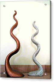 Serpants Duo Pair Of Abstract Snake Like Sculptures In Brown And Spotted White Dancing Upwards Acrylic Print by Rachel Hershkovitz