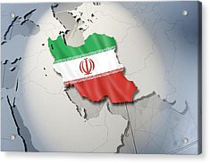 Shape And Ensign Of Iran On A Globe Acrylic Print by Dieter Spannknebel