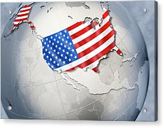 Shape And Ensign Of The Usa On A Globe Acrylic Print by Dieter Spannknebel