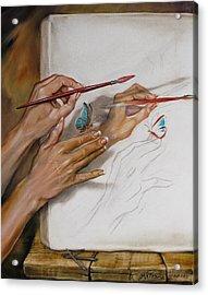 She Paints Acrylic Print by Martin Katon