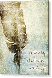 She Took A Leap Acrylic Print by HD Connelly