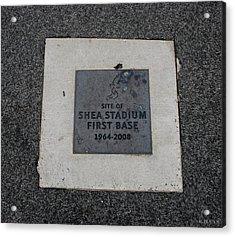Shea Stadium First Base Acrylic Print by Rob Hans