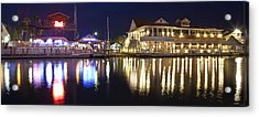 Shem Creek By Night - Panoramic Acrylic Print by Donni Mac