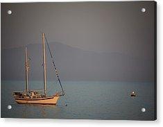 Ship In Warm Light Acrylic Print by Ralf Kaiser