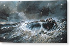 Shipwreck Acrylic Print by Louis Isabey