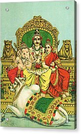 Shiva - Parvati Acrylic Print by Pg Reproductions