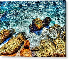 Shores Of The Aegean Acrylic Print by Michael Garyet