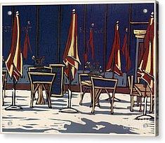 Sidewalk Cafe - Linocut Print Acrylic Print by Annie Laurie