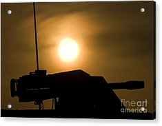 Silhouette Of A Mk 19 Automatic Grenade Acrylic Print by Terry Moore