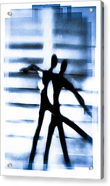 Silhouette Of Dancers Acrylic Print by David Ridley