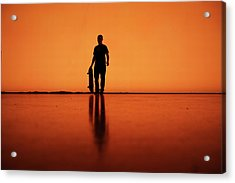 Silhouette Of Man With Skateboard, Berlin Acrylic Print by Atomare Aufruestung