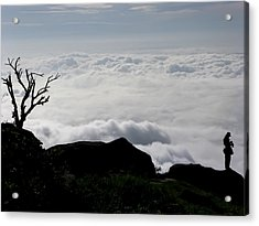 Silhouette Photographer With Group Of Clouds And Fogs Acrylic Print by Nawarat Namphon
