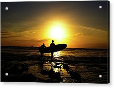 Silhouette Surfers Acrylic Print by Rolfo
