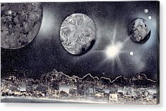Silver And Black Space City Acrylic Print by Marc Chambers