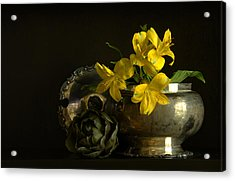 Silver And Golden Acrylic Print by Cindy Rubin