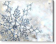 Silver Blue Snowflake  Acrylic Print by Sandra Cunningham