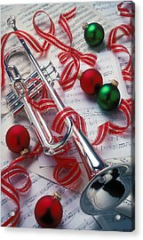 Silver Trumper And Christmas Ornaments Acrylic Print by Garry Gay