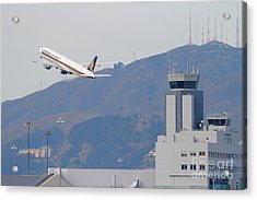 Singapore Airlines Jet Airplane Over The San Francisco International Airport Sfo Air Control Tower Acrylic Print by Wingsdomain Art and Photography