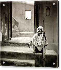 Sitting On Stairs Acrylic Print by Mostafa Moftah