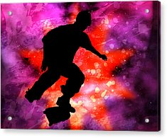 Skateboarder In Cosmic Clouds Acrylic Print by Elaine Plesser