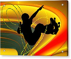 Skateboarding In The Bowl Silhouette Acrylic Print by Elaine Plesser
