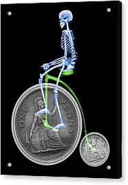 Skeleton On A Penny Farthing Acrylic Print by D. Roberts