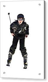 Skier Flying Acrylic Print by Susan Leggett