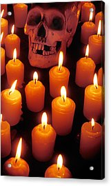 Skull And Candles Acrylic Print by Garry Gay