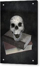 Skull On Books Acrylic Print by Joana Kruse