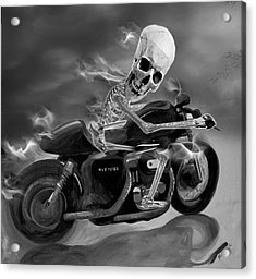 Skull Rider On Cafe Sportster Acrylic Print by Janet Oh
